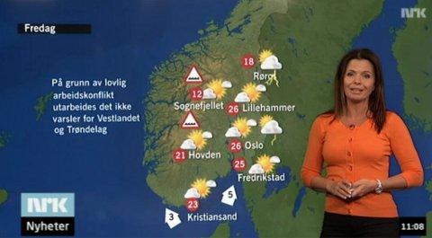 Værmelder Bente Marie Wahl har hittil ikke kunnet si noe om været for Vestlandet og Midt-Norge, men nå forsvinner hun fra skjermen. (Foto: NRK)