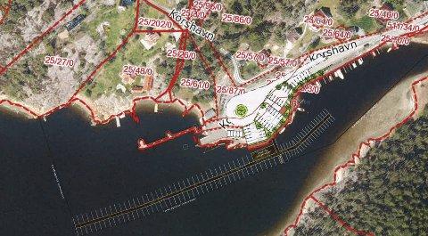 Slik kan det bli: Arild Åserud og hans konsulenter har tenkt seg at den nye brygga i Korshavn kan plasseres slik. (Røde streker og nummer markerer eiendommene) illustrasjon rambøll