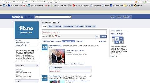 Skjermdump av Fredriksstad Blads profil på Facebook.