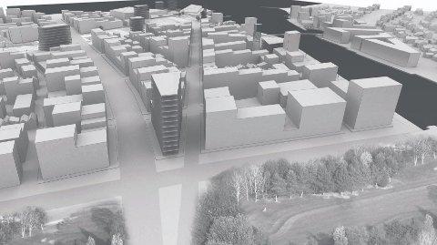Visjon: Illustrasjonene som er presentert viser ikke hvordan bygningene kan komme til å se ut, men volumet.  Illustrasjon: Dyrvik arkitekter