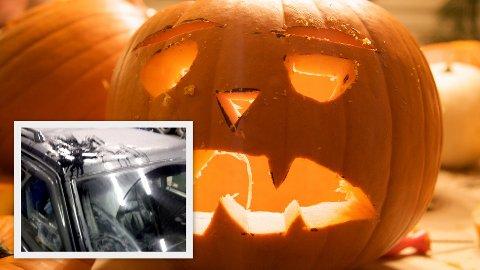 Politiet melder om eggkasting og hærverk under Halloween-feiringen mandag. En bilist fikk sprekk i frontruten og riper i lakken.