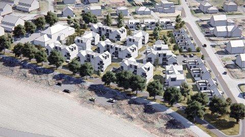 Slik ser naboene for seg det nye boligområdet ved Grindløkken skole kan se ut. Blokkene er én etasje lavere enn i kommunens foreløpige forslag.