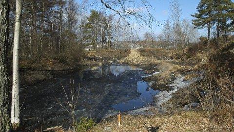 Tappet: Bjølstaddammen ble tappet av sikkerhetsmessige årsaker etter en lekkasje i januar i fjor. Foto: Terje Antonsen