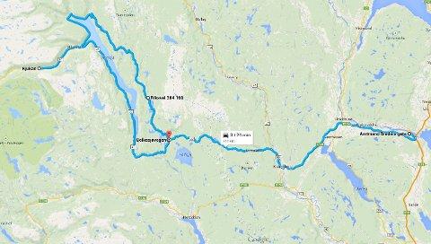 Slik var ruten til biltyven. Ifølge Google Maps kjørte sjåføren over 200 kilometer før han ble stanset med makt av politiet.