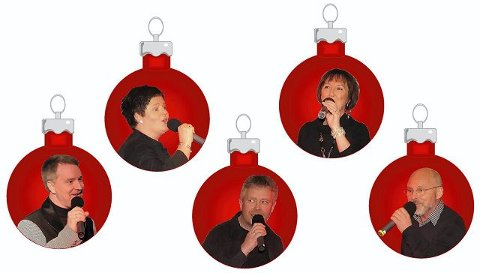 Vokalgruppen Maxime sørger for show og julestemning på Galleri Texas lørdag kveld.