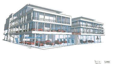 Dette er tegningene av Toyota THHs nybygg i Tønsberg. På hjørnet bort mot høyre blir det egen Lexus-butikk.