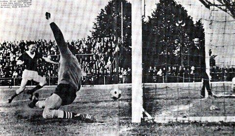 Verdensberømt: For 50 år siden spilte Gjøvik/Lyn og Eik 1–1 på Gjøvik. Eiks oppmann Øivind Andersen ble fotografert i det han stakk benet innenfor målstolpen. Ballen gikk ikke i mål, men spratt ut igjen. Om det var via stolpen eller Andersens ben, strides det fortsatt om. Bildet og historien gikk verden rundt.Foto: Arne Refshal