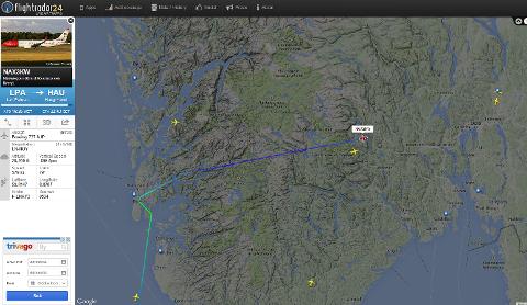 Norwegian-flyet fra Las Palmas som skulle landet på Helganes klokken 21.45, fikk ny tid 22.15, men er nå på vei til Oslo.