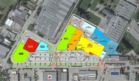 Utbyggingen i Varnaveien vil fremstå som et helt nytt handelskvartal.