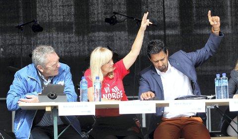 ALLE INNE: I ØBs siste meningsmåling er Nils Aage Jegstad (H), Gunvor Eldegard (Ap) og Abid Q. Raja (V) alle inne på Stortinget. FOTO: BJØRN V. SANDNESS