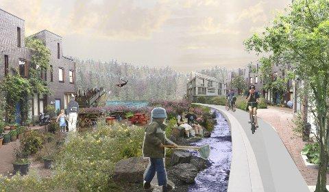 Byhage og badehus: Vann og frodige omgivelser rundt bebyggelsen er en av hovedtankene i mulighetsstudien for Ski øst. Illustrasjon: Asplan Viak