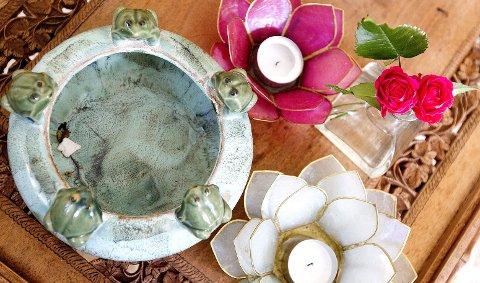 Bordet sto bortgjemt i en kjelleren og manglet en glassplate, men det var bare praktisk, syntes Schineller. Froskeskåla ble funnet på loppis.