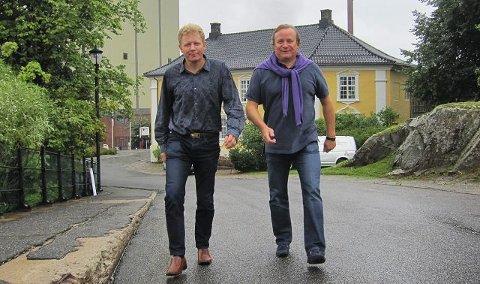 Geir Meum Olsen (til venstre) og Niels Wiig håper alle som ikke kan løpe vil stille i den nyopprettede vandreklassen i Christian Frederik-løpet lørdag.
