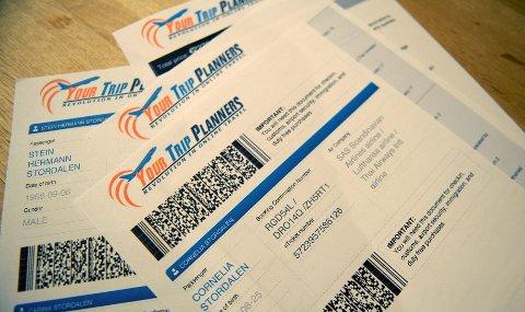 Slik ser de falske flybillettene Stordalen kjøpte gjennom nettsidenYourtripguides.com ut.  Foto: Janne Grytemark