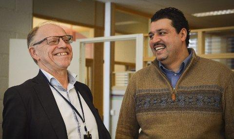 MENTOR: Torkil Bjørnson (t.v.), sjef for NCE Systems Engineering Kongsberg, har vært mentor for Tamer El-bahri. foto: jenny ulstein