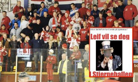En Stjernen-vakt blir truet med juling av Tønsberg Vikings-supportere før søndagens kamp i Stjernehallen.
