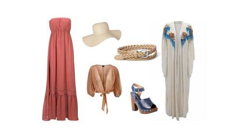 Lang kjole med volangkant fra Gina Tricot, (ca. kr 350), knytebluse fra Gina Tricot, (ca. kr 240), solhatt fra MQ, (ca. kr 220), kraftig sandaler fra Rizzo/Don Donna, (ca. kr 1100), klassisk, smalt belte fra MQ (ca. kr 115), kaftan fra Topshop, (ca. kr 620).