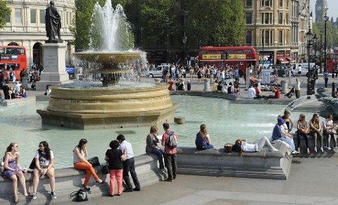 Her et sted, på Trafalgar Square i London, skal det finnes en cache.