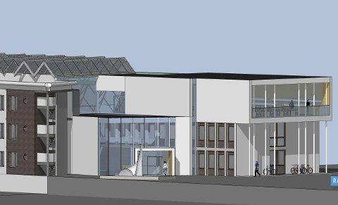 Den nye fylkestingssalen blir bygget på toppen av fløyen som vender ut mot Svend Foyns gate.