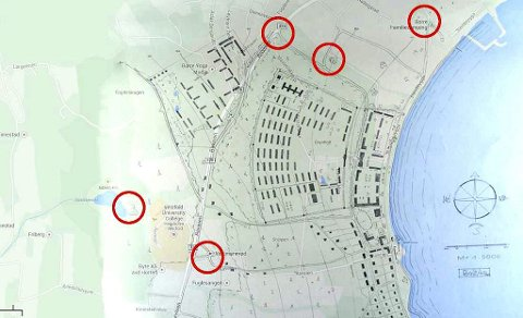 Skissen fra Riksarkivet lagt oppå dagens kart over Borre. Vi ser området Mastebakke, og flere punkter stemmer overens på kartene.
