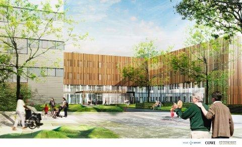 Nå tyder mye på at administrasjonen i Sykehuset Østfold kan flytte inn i et nytt administrasjonsbygg på Kalnes-tomta om drøyt halvannet år. Foto: privat