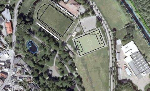 BANEANLEGG: Illustrasjonen viser parkdelen til venstre, idrettsanlegg til høyre. Kunstisen er tenkt anlagt rett sør / øst for inntegnet kunstgressbane. ILLUSTRASJON: KIGE