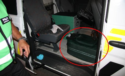 Her er den mistenkelige kofferten.