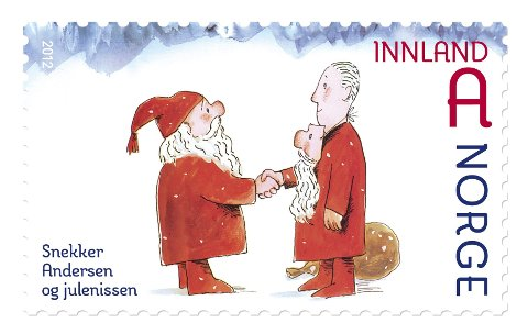 OPPFYLT: Eksempel på en som fikk en snekker. Men det var Julenissen. Hans Normann Dahls tegning til Alf Prøysens historie ble frimerke,