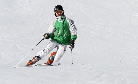 Supre forhold: Felix tester snøen i Hintertux.