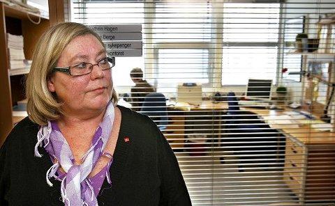 Fagforbundsleder Hilde Torgersen er ikke glad for et eventuelt rød-blått samarbeid. foto geir hansen
