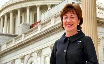 Senator Susan Collins som offentliggjorde kontraktsinngåelsen.