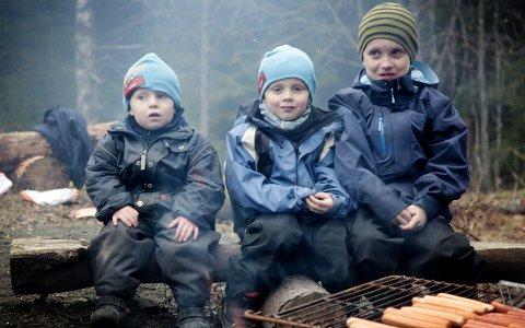 Fornøyde turbarn: Øyvind Areng (3), Vebjørn Areng (5) og Jørgen Areng (8) trives godt i naturen, og skulle ønske de kunne gå på tur oftere. ALLE FOTO: DANIEL GAUSLAA