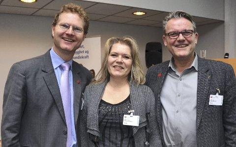 Enige: Ledelsen i Hedmark Frp, Tor Andre Johnsen (t.v), Hege Jensen og Johan Aas, ønsker seg alle en folkeavstemning om nordmenns holdninger til norsk innvandringspolitikk.