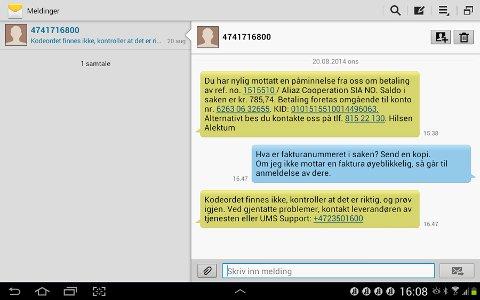 Slik så SMS-utvekslingen mellom Steinar Widding og Alektum ut.