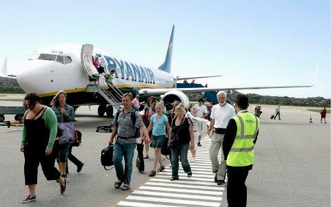 KUTTER: I vinter vil Ryanair bare fly tre ukentlige rundturer mellom Helganes og London Stansted.