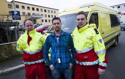 Fornøyde: Rune Krogstad (f.v.), hovedtillitsvalgt Ole Jørgen Petterøe og Yngve Haugen er glade for utsettelsen i AMK-saken.