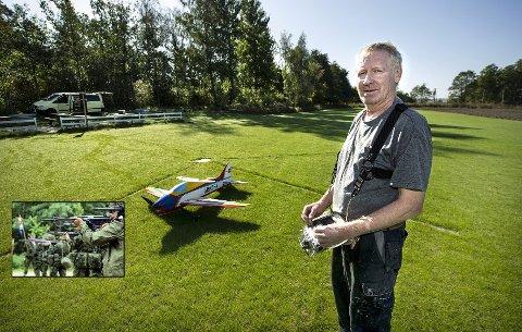 Modellfly: Kjell Tore Pettersen er hoderystende til at noen klager på modellflyaktivitetene. Før hadde Forsvaret skytebane i området . Foto: Geir A. Carlsson