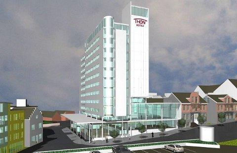 Denne skissen viser hvordan Thon-gruppen har tenkt seg det planlagte hotellet i sentrum av Moss. I det første utkastet ble det operert med 45 meters høyde på hotellet.