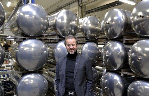 Varmtvannsberedere: Daglig leder Thomas Buskoven og Høiax produserer 50.000 varmtvannsberedere i året.Alle bilder: Svein A. Halvorsen