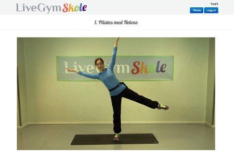PILATES: Helene Wyssenbach leder elevene virtuelt i pilatesøvelser og dans.