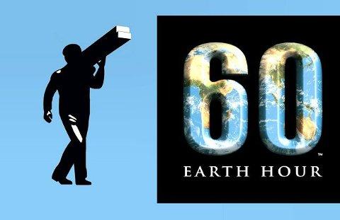 Bykamplogo I midten er den internasjonale logoen fra Earth hour. På hver side har Sarpsborg og Fredrikstad fått sin egen logo.