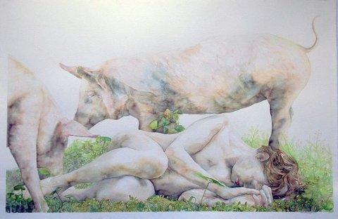 UTSTILLING: Utstillingen til Marianne Darlen Solhaugstrand er akvareller med motiver av menn i helfigur. ILLUSTRASJON: INNSENDT