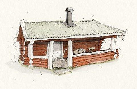 «Parkert»: Hytta er en av mange tegninger i Hilde Diesens «Hytteskogen».