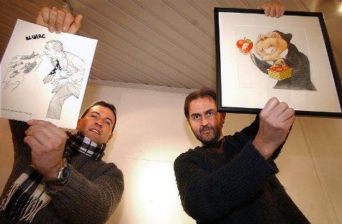 """""""Avistegnere på begge sider av Atlanteren"""" er tittelen på utstillingen som åpner i Stabelhuset lørdag. Antonio Helguera (t.v.) med """"krigsmaskinen"""" George Bush og Egil Nyhus, tegner i Romerikes Blad med en karikatur av Carl I. Hagen."""