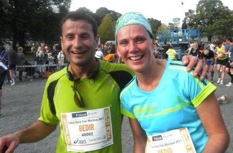Bente Skari og Bedir løp i Oslo sammen.