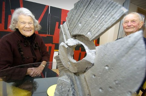 KUNSTNERPARET: Numme og Odd Tandberg traff hverandre på Kunstakademiet i København rett etter krigen, og det var Numme som fikk Odd med seg til Ås. FOTO: CHRISTIAN CLAUSEN.
