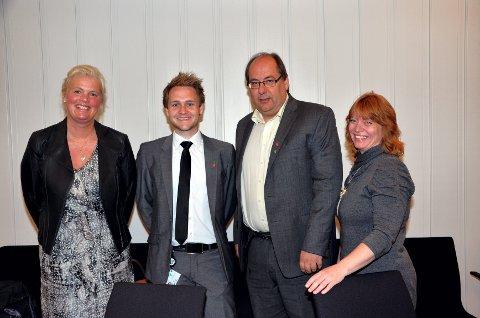Det nye fylkesrådet etter valget i fylkestinget: Fra venstre Aasa Gjestvang (Sp), Lasse Juliussen (Ap), Per-Gunnar Sveen (Ap) og Anne Karin Torp Adolfsen (Ap).