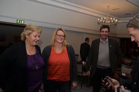 GODT MØTE: Berit Nordseth Moen fra Tynset Høyre hadde et godt møte med statsminister Erna Solberg. Hun tror nå at helsearkivet og sentraldepotet kommer inn på statsbudsjettet for 2015.