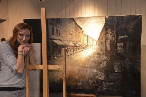 Gatepartier: Gater er et gjennomgående motiv i Karoline Kaabers malerier. Her et halvferdig hun jobber med til neste separatutstilling.