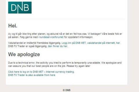 DNBs nettsider ble tirsdag formiddag utsatt for et nettangrep som fører til at nettsidene er nede.